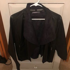 Leather blazer with suede flaps